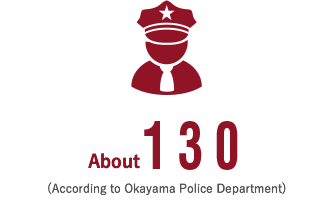 About 130 (according to Okayama Police Department)